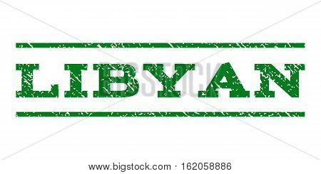Libyan watermark stamp. Text tag between horizontal parallel lines with grunge design style. Rubber seal stamp with dust texture. Vector green color ink imprint on a white background.