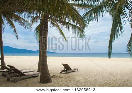 Sunbeds And Palms In The My Khe Beach, Danang, Vietnam