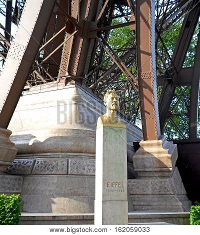 Gustave Eiffel monument located under the Eiffel Tower, Paris, France