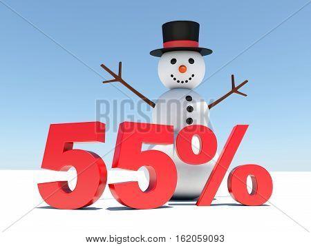 55 percent discount - Happy snowman announces winter discounts 3d render