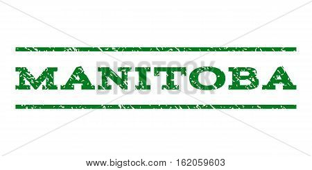 Manitoba watermark stamp. Text caption between horizontal parallel lines with grunge design style. Rubber seal stamp with dust texture. Vector green color ink imprint on a white background.