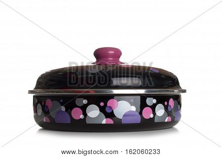 Modern Covered And Clean Classic Cast Iron Dutch Oven Or Pot Isolated On White Background, Close Up,