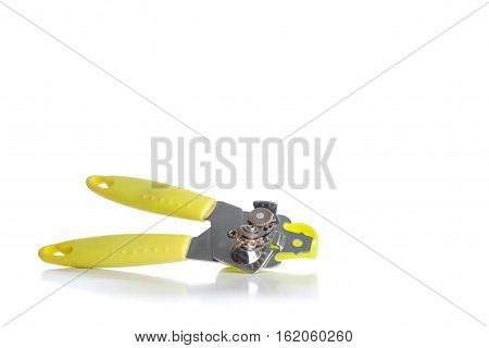 Green Multi Opener - Equipment For Opening Cans And Bottles. Isolated On White Background