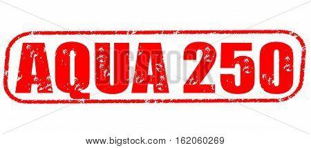 Aqua 250 on the white background, red illustration
