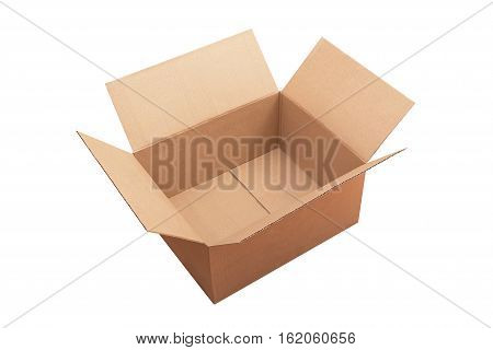 Open package cardboard box isolated on white background