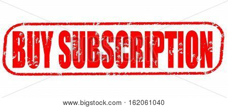 Buy subscription on the white background, red illustration