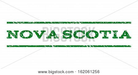 Nova Scotia watermark stamp. Text tag between horizontal parallel lines with grunge design style. Rubber seal stamp with dirty texture. Vector green color ink imprint on a white background.