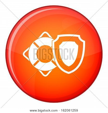 Lifebuoy and safety shield icon in red circle isolated on white background vector illustration