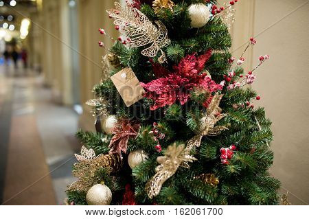Decorated Christmas tree in new year in trading hall
