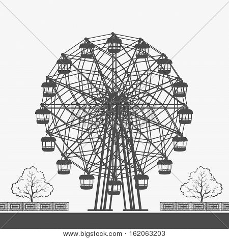 Ferris Wheel Vector Silhouette eps 8 file format