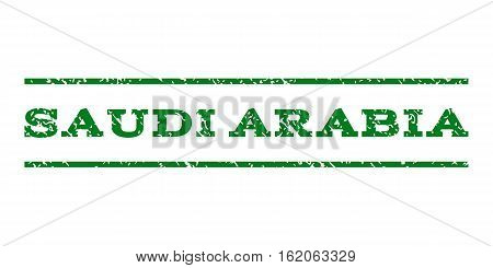 Saudi Arabia watermark stamp. Text tag between horizontal parallel lines with grunge design style. Rubber seal stamp with scratched texture. Vector green color ink imprint on a white background.