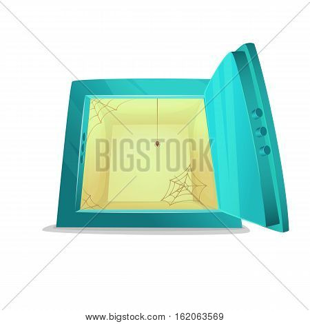 Safe deposit no money. Cartoon style illustration of opened empty bank safe. Vector illustration.