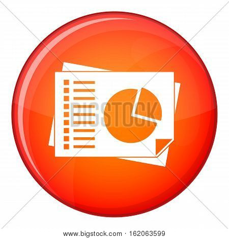 Sheets of paper with charts icon in red circle isolated on white background vector illustration