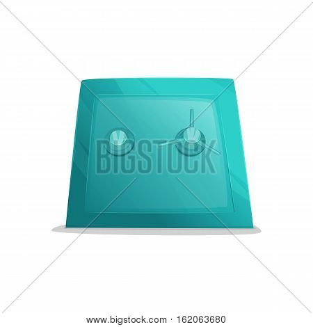 Metal cartoon safe. Illustration of closed safe isolated on a red background.