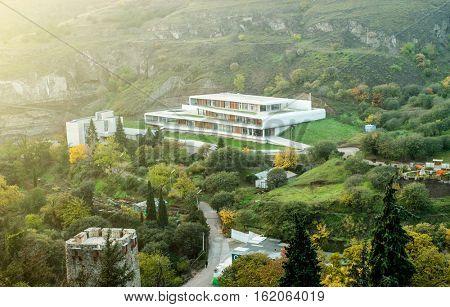 amazing view of Tbilisi botanical garden fron Narikala fortress, Georgia