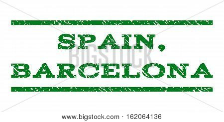 Spain, Barcelona watermark stamp. Text caption between horizontal parallel lines with grunge design style. Rubber seal stamp with scratched texture.
