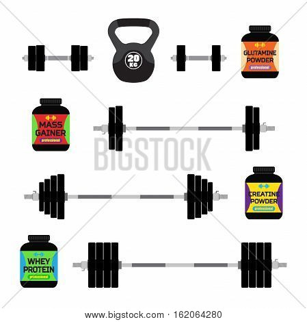 Sports nutrition, supplements, barbells, whey protein, gainer bars Flat vector style