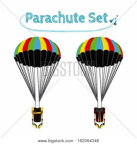 Parachute pack with opened parachute. Bright extreme sport equipment for skydiving parachuting paragliding. Vector flat style.