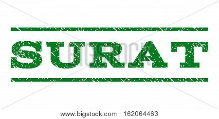 Surat watermark stamp. Text tag between horizontal parallel lines with grunge design style. Rubber seal stamp with scratched texture. Vector green color ink imprint on a white background.
