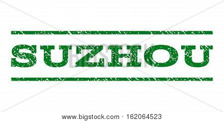 Suzhou watermark stamp. Text tag between horizontal parallel lines with grunge design style. Rubber seal stamp with unclean texture. Vector green color ink imprint on a white background.