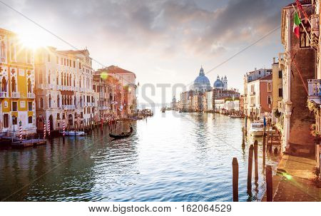 Panorama of Grand Canal in Venice Italy