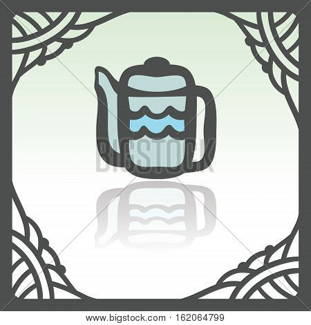 Vector outline teapot icon in hand drawn frame. Elements for mobile concepts and web apps. Modern infographic logo and pictogram.