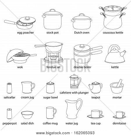 Kitchen utensils illustrations set. Cooking, dinner service, with names. White flat outlined images of kitchenware