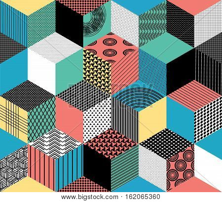 Seamless Pattern Background With Textured Multicolored Rhombus