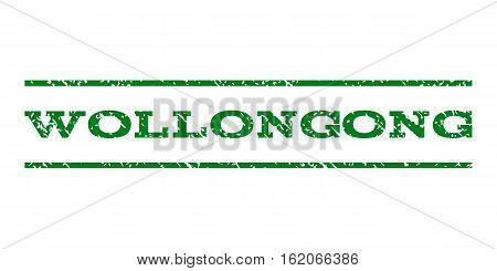 Wollongong watermark stamp. Text tag between horizontal parallel lines with grunge design style. Rubber seal stamp with unclean texture. Vector green color ink imprint on a white background.
