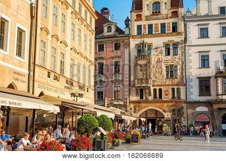PRAGUE CZECH REPUBLIC - SEPTEMBER 07 2016: Cafe and restaurants at Old Town Square (Staromestske Namesti).