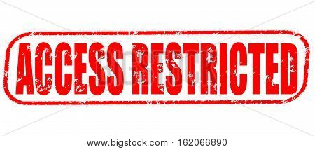 Access restricted on the white background, red illustration