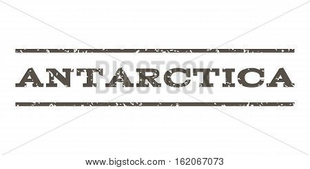Antarctica watermark stamp. Text caption between horizontal parallel lines with grunge design style. Rubber seal stamp with dirty texture. Vector grey color ink imprint on a white background.