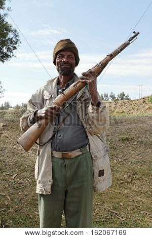 A Man with fire arms in Ethiopia