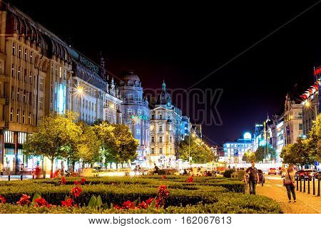 PRAGUE CZECH REPUBLIC - SEPTEMBER 01 2016: Wenceslas Square at night viewed from the southeast end.