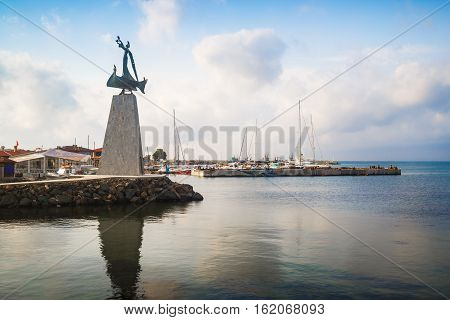 Nesebar Bulgaria - September 05 2014: Monument of Saint Nicholas the patron saint of the navigators in old town Nessebar on the Bulgarian Black Sea Coast. UNESCO world heritage site.