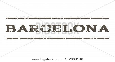 Barcelona watermark stamp. Text tag between horizontal parallel lines with grunge design style. Rubber seal stamp with unclean texture. Vector grey color ink imprint on a white background.