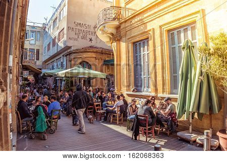 NICOSIA - APRIL 13 2015: Street cafe in Phaneromeni Square old quarter of Nicosia