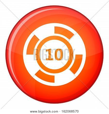 Casino chip icon in red circle isolated on white background vector illustration
