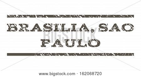 Brasilia, Sao Paulo watermark stamp. Text tag between horizontal parallel lines with grunge design style. Rubber seal stamp with unclean texture. Vector grey color ink imprint on a white background.