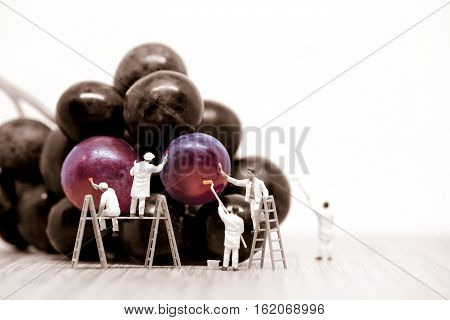 Miniature painters coloring red grapes. Macro photo.