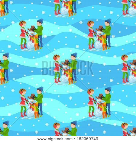 Vector illustration of seamless background happy family playing in winter sculpts snowman walking outdoor.