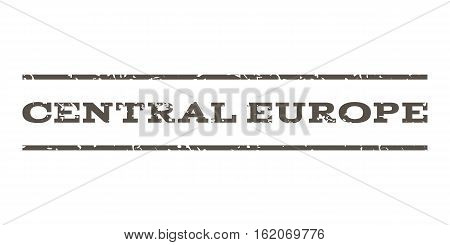 Central Europe watermark stamp. Text tag between horizontal parallel lines with grunge design style. Rubber seal stamp with dirty texture. Vector grey color ink imprint on a white background.