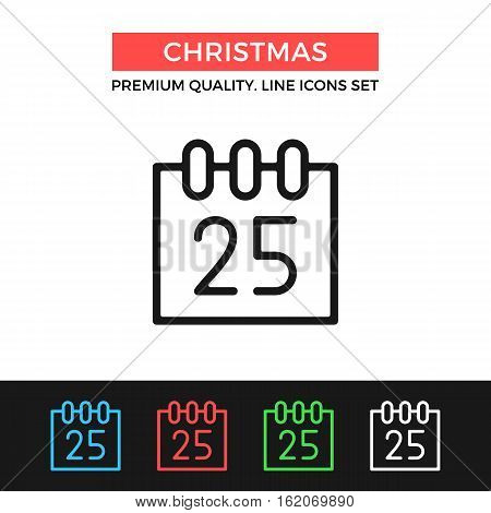 Vector Christmas icon. Calendar with December 25. Christmas day concept. Premium quality graphic design. Signs, symbols, simple thin line icons set for websites, web design, mobile app, infographics