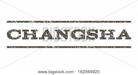 Changsha watermark stamp. Text tag between horizontal parallel lines with grunge design style. Rubber seal stamp with dirty texture. Vector grey color ink imprint on a white background.