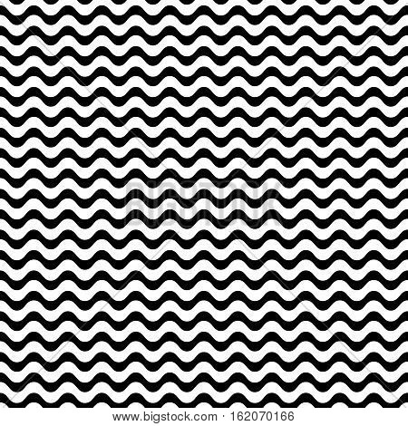 Vector seamless pattern, horizontal wavy lines, smooth bends. Simple monochrome black & white texture. Abstract endless background. Design element for prints, decoration, textile, digital, furniture
