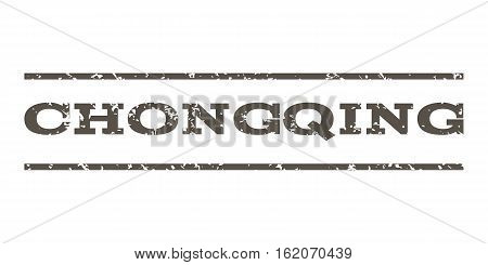 Chongqing watermark stamp. Text caption between horizontal parallel lines with grunge design style. Rubber seal stamp with unclean texture. Vector grey color ink imprint on a white background.