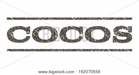 Cocos watermark stamp. Text caption between horizontal parallel lines with grunge design style. Rubber seal stamp with unclean texture. Vector grey color ink imprint on a white background.