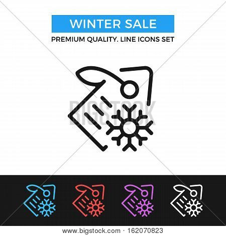 Vector winter sale icon. Label and snowflake. Winter shopping concept. Premium quality graphic design. Modern signs, symbol, simple thin line icons set for website, web design, mobile app, infographic
