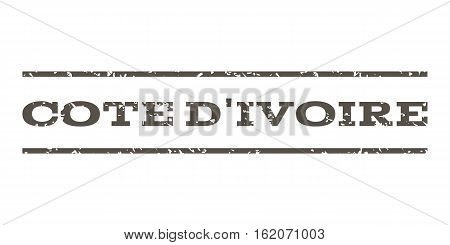 Cote D'Ivoire watermark stamp. Text tag between horizontal parallel lines with grunge design style. Rubber seal stamp with dust texture. Vector grey color ink imprint on a white background.