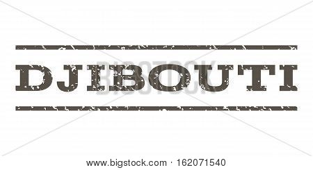 Djibouti watermark stamp. Text caption between horizontal parallel lines with grunge design style. Rubber seal stamp with dust texture. Vector grey color ink imprint on a white background.